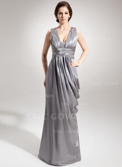 Sheath/Column Charmeuse Sleeveless V-neck Floor-Length Zipper Up Mother of the Bride Dresses (008211419)