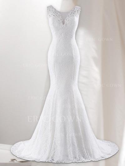 Trumpet/Mermaid V-neck Sweep Train Wedding Dresses With Lace (002218625)