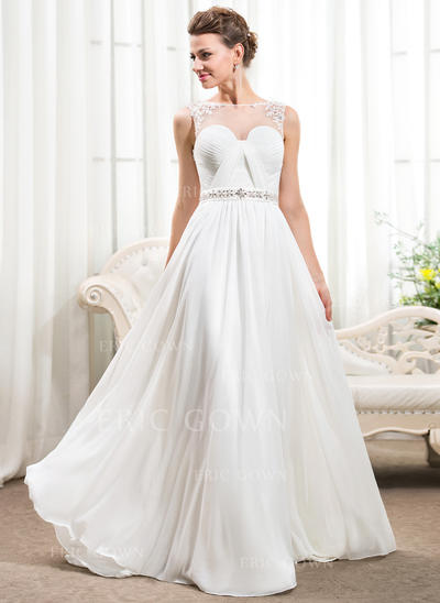 Stunning Scoop A-Line/Princess Wedding Dresses Court Train Chiffon Sleeveless (002210573)