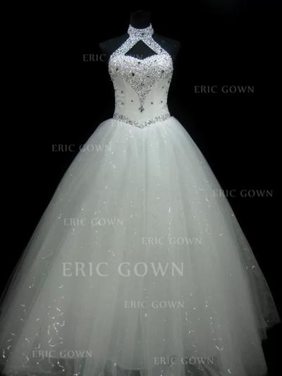 Ball-Gown Tulle Sleeveless Halter Floor-Length Wedding Dresses (002147807)