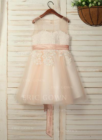 A-Line/Princess Knee-length Flower Girl Dress - Sleeveless Scoop Neck With Sash/Back Hole (010130894)