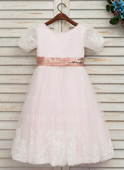 A-Line/Princess Knee-length Flower Girl Dress - Satin/Tulle/Lace/Sequined Short Sleeves Scoop Neck With Bow(s) (Undetachable sash) (010146250)
