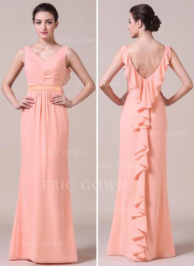 Trumpet/Mermaid Chiffon Bridesmaid Dresses Cascading Ruffles V-neck Sleeveless Floor-Length (007056864)