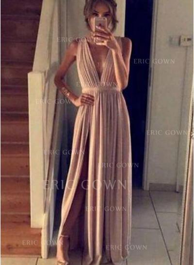 A-Line/Princess Floor-Length Prom Dresses V-neck Chiffon Sleeveless (018146231)