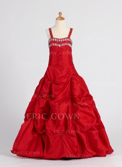 A-Line/Princess Sweetheart Floor-length With Ruffles/Beading/Pick Up Skirt Taffeta Flower Girl Dresses (010005901)
