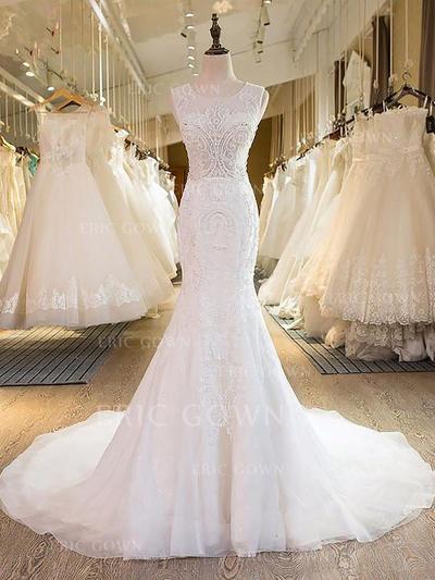 Stunning Scoop Trumpet/Mermaid Wedding Dresses Sweep Train Tulle Sleeveless (002210838)