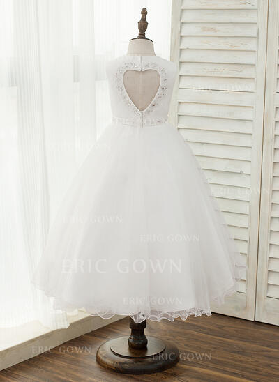 A-Line/Princess Asymmetrical Flower Girl Dress - Tulle Sleeveless Scoop Neck With Beading/Back Hole (010153220)