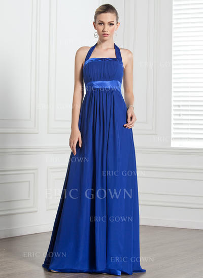 Empire Chiffon Bridesmaid Dresses Ruffle Bow(s) Halter Sleeveless Floor-Length (007000868)