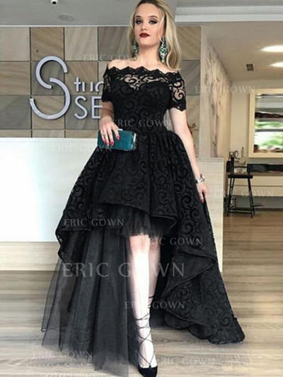 Newest Tulle Evening Dresses A-Line/Princess Asymmetrical Off-the-Shoulder Short Sleeves (017196760)