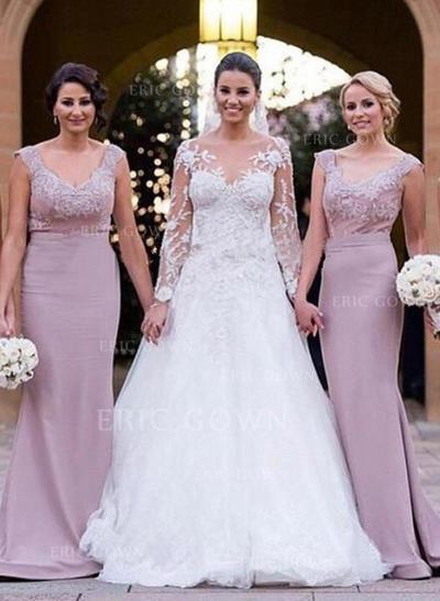 Trumpet/Mermaid Lace Jersey Bridesmaid Dresses V-neck Sleeveless Sweep Train (007144985)