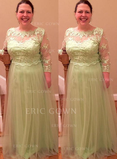 A-Line/Princess Tulle Long Sleeves Scoop Neck Floor-Length Zipper Up Mother of the Bride Dresses (008212797)
