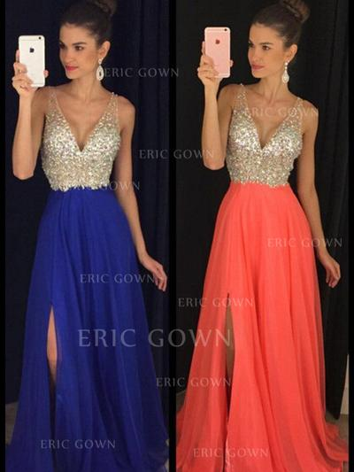 A-Line/Princess V-neck Floor-Length Evening Dresses With Beading (017216494)