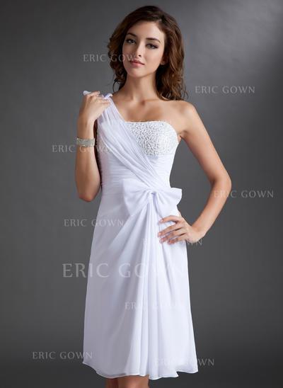 Sheath/Column One-Shoulder Knee-Length Chiffon Homecoming Dresses With Ruffle Beading Bow(s) (022212831)
