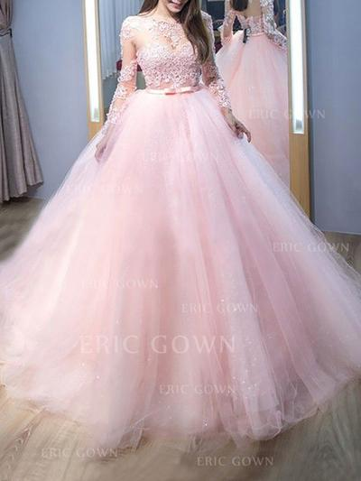 Ball-Gown Scoop Neck Sweep Train Tulle Evening Dresses With Lace (017217196)
