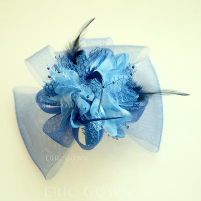 """Forehead Jewelry/Hats Wedding/Special Occasion/Party Net Yarn/Silk Flower 5.91""""(Approx.15cm) 4.72""""(Approx.12cm) Headpieces (042159512)"""