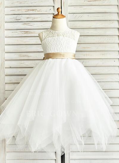 A-Line/Princess Tea-length Flower Girl Dress - Tulle/Lace Sleeveless Jewel With Sash/Back Hole (010091412)