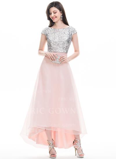 A-Line Scoop Neck Asymmetrical Organza Prom Dresses (018113754)