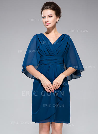Sheath/Column Chiffon 1/2 Sleeves V-neck Knee-Length Zipper Up Mother of the Bride Dresses (008042323)