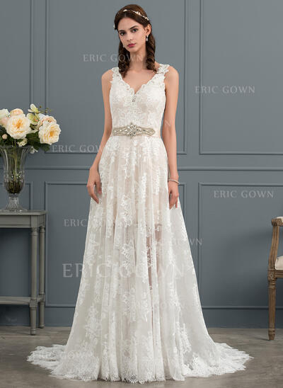 A-Line V-neck Court Train Lace Wedding Dress With Beading Sequins Bow(s) (002145291)