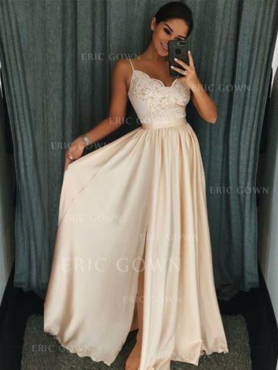 A-Line/Princess V-neck Floor-Length Prom Dresses With Ruffle Appliques Split Front (018219253)