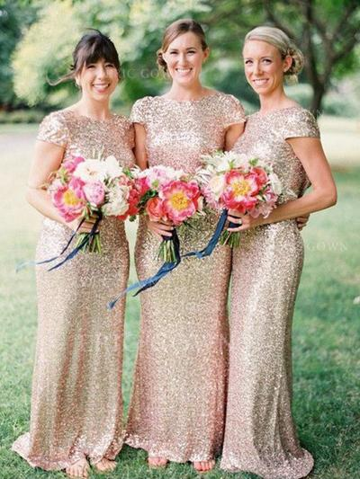 Sheath/Column Scoop Neck Floor-Length Bridesmaid Dresses (007211575)