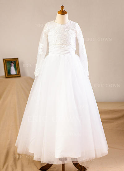 A-Line/Princess Floor-length Flower Girl Dress - Tulle/Lace Long Sleeves Scoop Neck (Wrap included) (010093752)