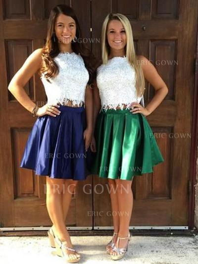 A-Line/Princess Square Neckline Knee-Length Homecoming Dresses With Ruffle (022219394)