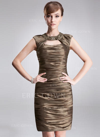 Sheath/Column Scoop Neck Short/Mini Taffeta Cocktail Dresses With Ruffle Beading (016021238)
