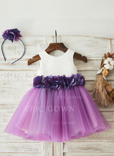 A-Line/Princess Knee-length Flower Girl Dress - Tulle/Lace Sleeveless Scoop Neck With Lace/Flower(s) (010117702)
