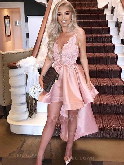 A-Line/Princess V-neck Asymmetrical Homecoming Dresses With Appliques Lace (022216226)