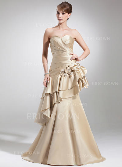 Trumpet/Mermaid Sweetheart Court Train Mother of the Bride Dresses With Ruffle Beading Flower(s) Cascading Ruffles (008213122)