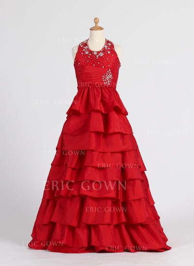 Stunning Halter A-Line/Princess Flower Girl Dresses Floor-length Taffeta Sleeveless (010007406)