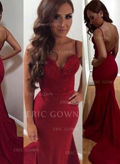 Trumpet/Mermaid Sweetheart Court Train Prom Dresses With Lace (018146457)