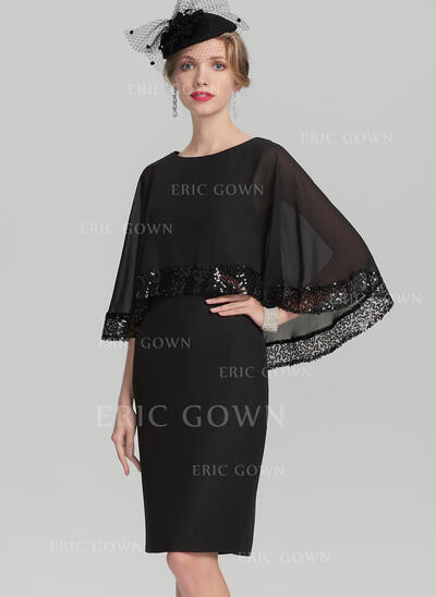 Sheath/Column Scoop Neck Knee-Length Chiffon Mother of the Bride Dress With Sequins (008131958)