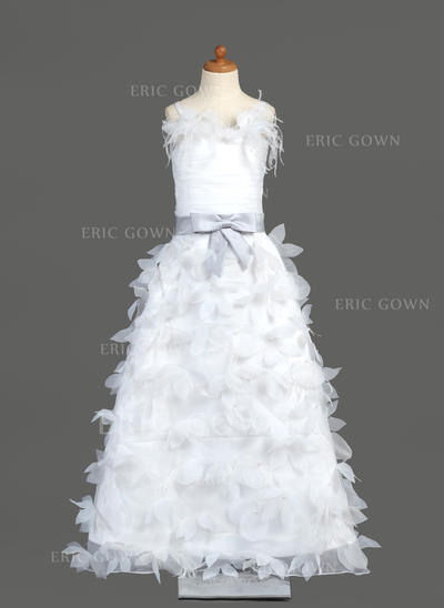 Beautiful A-Line/Princess Flower Girl Dresses Floor-length Organza/Charmeuse Sleeveless (010005781)