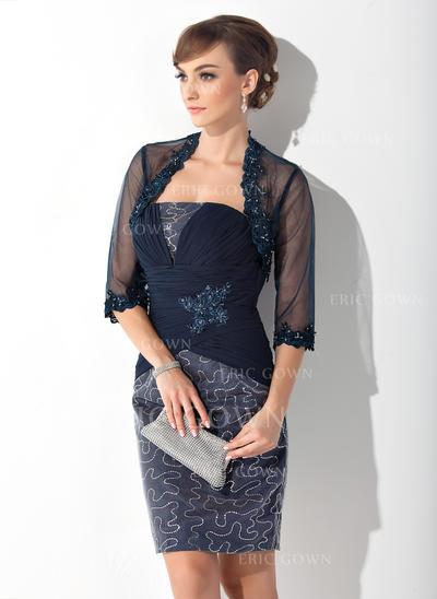 Sheath/Column Chiffon Sleeveless Strapless Knee-Length Zipper Up Mother of the Bride Dresses (008213132)