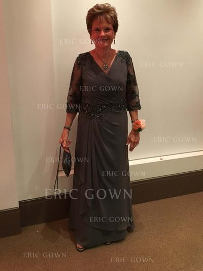 A-Line/Princess Chiffon 3/4 Sleeves V-neck Floor-Length Zipper Up Mother of the Bride Dresses (008212763)