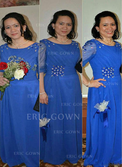 A-Line/Princess Chiffon 1/2 Sleeves Scoop Neck Floor-Length Zipper Up Mother of the Bride Dresses (008212776)