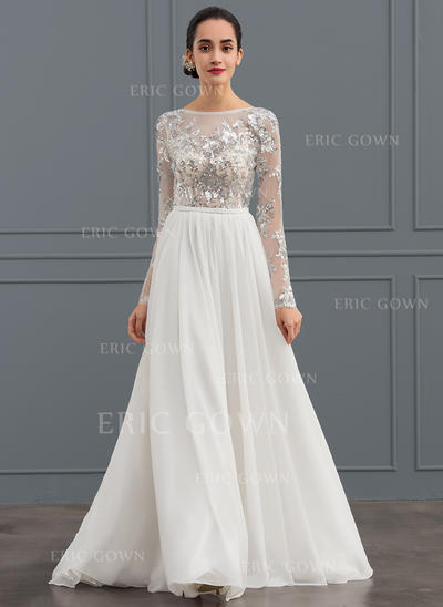 A-Line/Princess Scoop Neck Sweep Train Chiffon Tulle Wedding Dress (002134548)