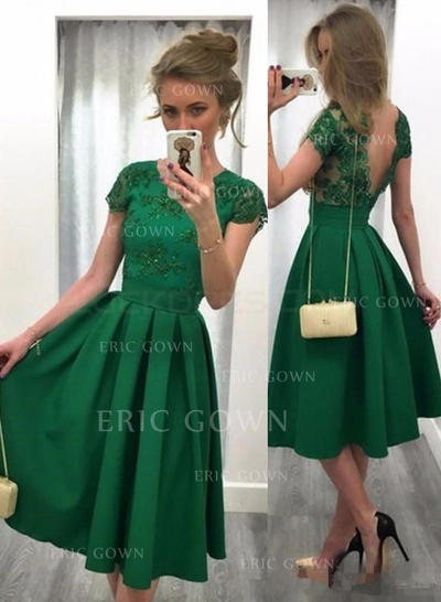 A-Line/Princess Scoop Neck Knee-Length Satin Cocktail Dresses With Beading Sequins (016145289)