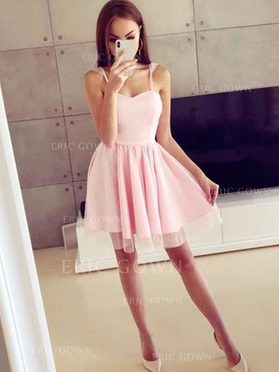 A-Line/Princess Square Neckline Short/Mini Homecoming Dresses With Ruffle (022216333)