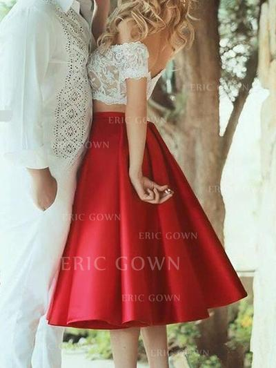 A-Line/Princess Off-the-Shoulder Tea-Length Satin Homecoming Dresses With Lace (022216536)