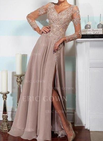 A-Line/Princess V-neck Floor-Length Evening Dresses With Split Front (017144640)