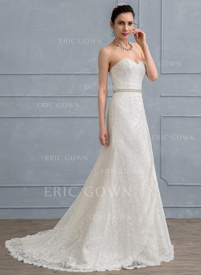 A-Line/Princess Sweetheart Court Train Lace Wedding Dress With Ruffle Beading Sequins (002111936)