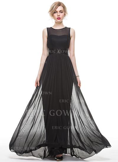 A-Line Scoop Neck Floor-Length Jersey Evening Dress With Sequins (017083843)