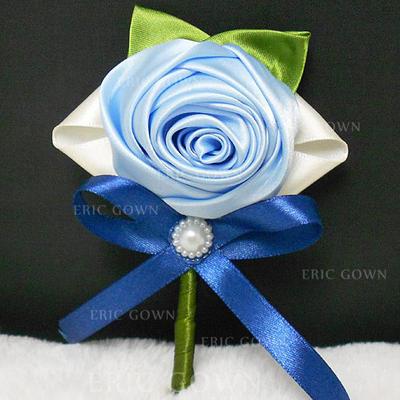 "Boutonniere/Men's Accessories Round Wedding Ribbon/Artificial Silk 4.53""(Approx.11.5cm) Wedding Flowers (123188837)"