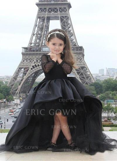 Simple Scoop Neck A-Line/Princess Flower Girl Dresses Asymmetrical Tulle Long Sleeves (010210943)