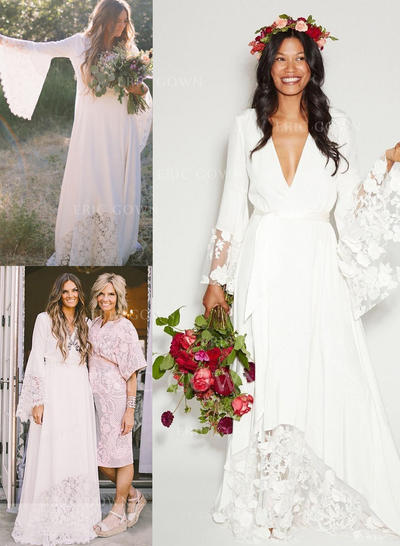 Deep V Neck A-Line/Princess Wedding Dresses Chiffon Lace Sash Long Sleeves Floor-Length (002213548)