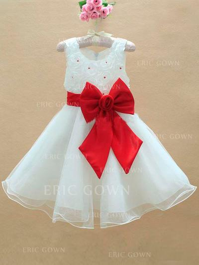 A-Line/Princess Scoop Neck Knee-length With Bow(s) Tulle Flower Girl Dresses (010211967)
