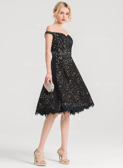 A-Line Off-the-Shoulder Knee-Length Lace Cocktail Dress (016150215)